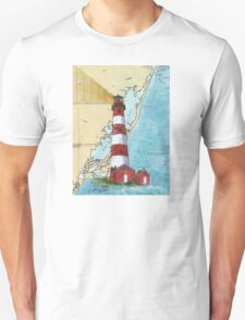 Assateague Lighthouse VA Nautical Chart Cathy Peek T-Shirt