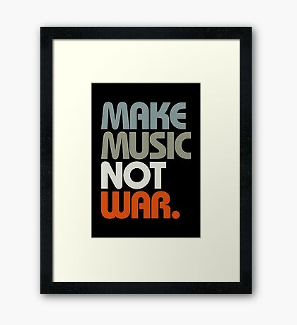 Make Music Not War (Retro) Framed Print