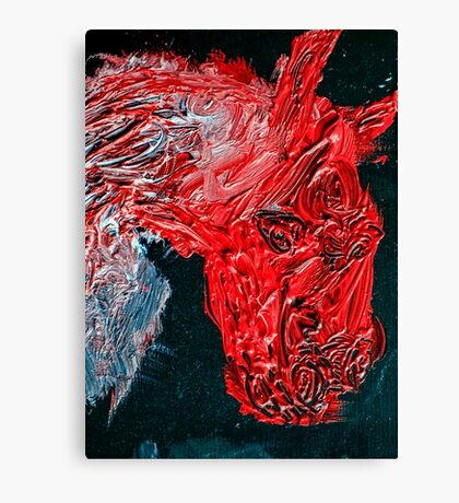 Oil on canvas Horse in red Canvas Print