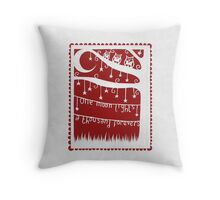 one moon lights a thousand forevers - red Throw Pillow