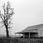 Tree and Barn in Fog by KellyHeaton