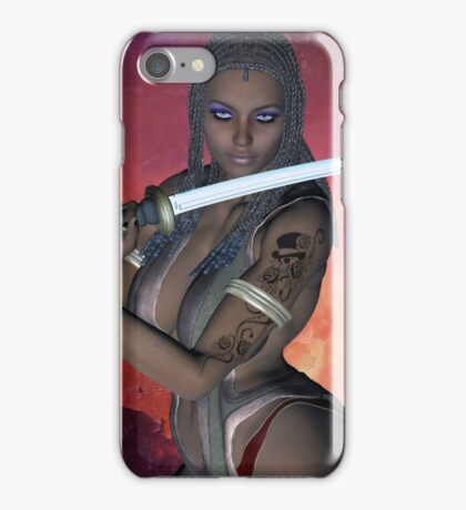 Samurai Warrior sword girl iPhone Case/Skin