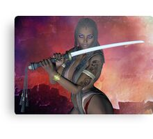 Samurai Warrior sword girl Metal Print