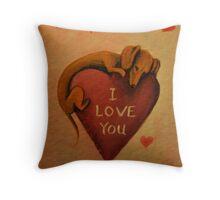 Dachshund~Dog~I Love You~Valentine Throw Pillow