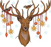 close-up view of deer head with horns, birds and christmas decorations by Nadiiaz