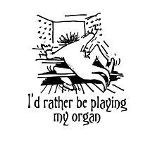 Funny cartoon of organist Photographic Print