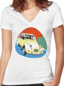 2cv Deux Chevaux seventies style Women's Fitted V-Neck T-Shirt