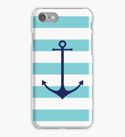 Blue anchor on navy stripes marine style iPhone Case/Skin