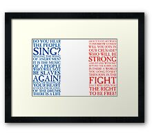 Les Miserables - Do You Hear The People Sing Flag Framed Print