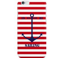 Blue anchor on red navy stripes marine style iPhone Case/Skin