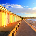 beach huts at dawn by geoffford