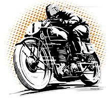 Vintage Motorcycle Racer Photographic Print