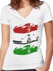 ITALIA Women's Fitted V-Neck T-Shirt