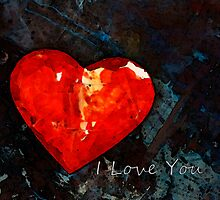 I Just Love You - Red Heart Romantic Art by Sharon Cummings