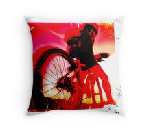 Mountain Biker Throw Pillow