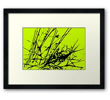 Strike Out Lime Green and Black Abstract Framed Print