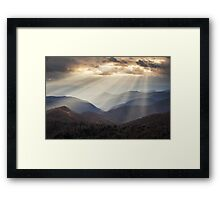 Crepuscular Light Rays on Blue Ridge Parkway - Rays and Ridges Framed Print