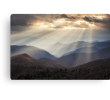 Crepuscular Light Rays on Blue Ridge Parkway - Rays and Ridges Canvas Print