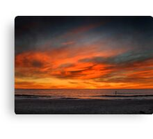 Lone Paddle Boarder at Sunset Canvas Print