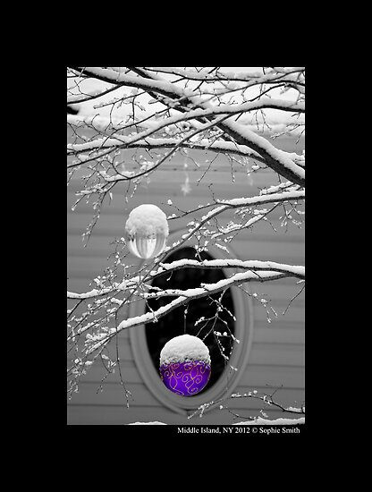 Purple Holiday Decoration Against Oval Window  by © Sophie W. Smith