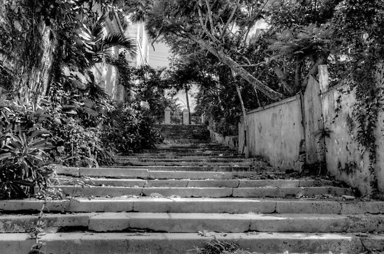 Stairs at the end of Queen Street in Nassau, The Bahamas by 242Digital