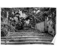 Stairs at the end of Queen Street in Nassau, The Bahamas Poster
