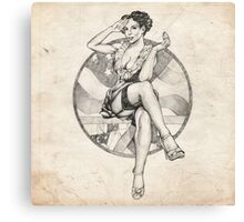 4th of July USA Pinup Girl Sketch Canvas Print