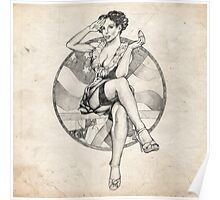 4th of July USA Pinup Girl Sketch Poster