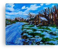 Maheragallan Byre Dwelling in Snow, Cultra, County Down. Canvas Print