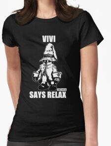 Vivi Says Relax - Monochrome White Womens Fitted T-Shirt