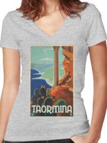 Vintage poster - Taormina Women's Fitted V-Neck T-Shirt