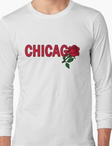 Chicago Rose│Red Long Sleeve T-Shirt