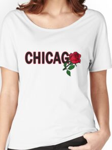 Chicago Rose│Black Women's Relaxed Fit T-Shirt