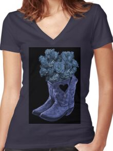 ☆ ★ ☆EVEN COWGIRLS GET THE BLUES -SOMETIMES-(AND COWBOYS 2) PICTURE/CARD ☆ ★ ☆¸ Women's Fitted V-Neck T-Shirt