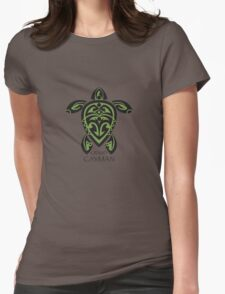 Black & Green Tribal Turtle Tattoo / Grand Cayman Womens Fitted T-Shirt