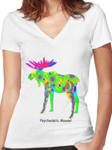 Psychedelic Moose Women's Fitted V-Neck T-Shirt
