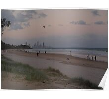 Waiting for the moon and stars over Surfers Paradise QLD. Poster
