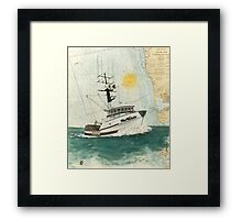 Crab Fishing Boat Miss Michelle Cathy Peek Nautical Map Framed Print