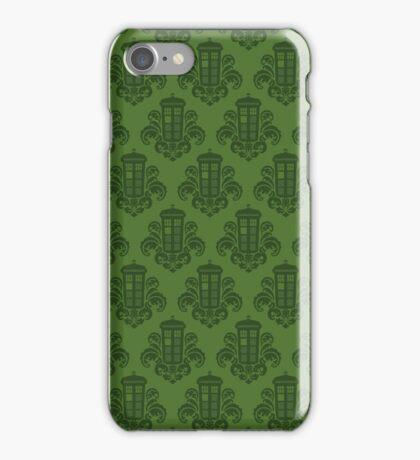 Tardis Damask - Green iPhone Case/Skin