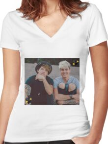 Kian and Jc Black Hearts Women's Fitted V-Neck T-Shirt