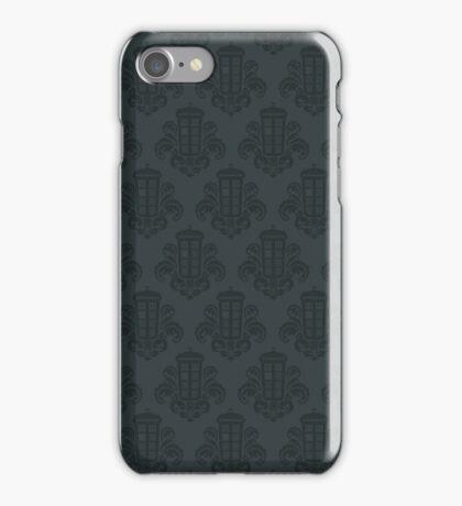 Tardis Damask - Grey iPhone Case/Skin