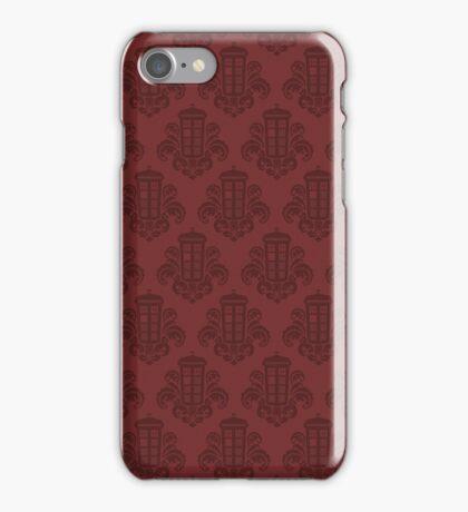 Tardis Damask - Red iPhone Case/Skin