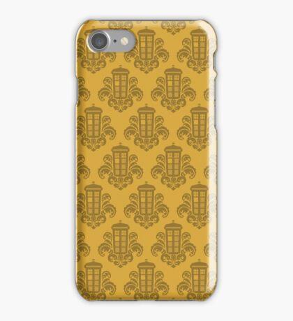 Tardis Damask - Yellow iPhone Case/Skin