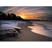 Sunset on frozen Lake Superior shores Photographic Print