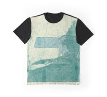 Massachusetts Map Blue Vintage Graphic T-Shirt