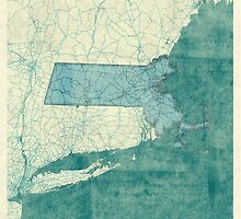 Massachusetts Map Blue Vintage by HubertRoguski