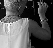 tattooed lady with chalk. by geof