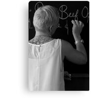 tattooed lady with chalk. Canvas Print