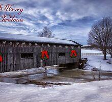 Merry Christmas  Covered Bridge by Kathy Weaver
