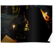 Christmass 2012 - Pilgrim in the Holy Sepulchre in Jerusalem Poster